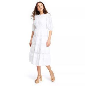 LoveShackFancy Phoebe White Midi Dress 12
